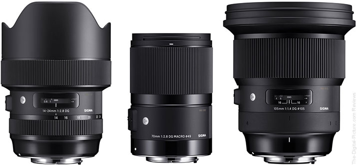 Sigma 14mm f/2.8 Art, Sigma 70mm f/2.8 Macro Art & Sigma 105mm f/1.4 Art Lenses