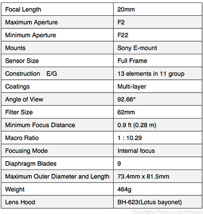 Tokina FIRIN 20mm F2 FE AF Lens Specifications
