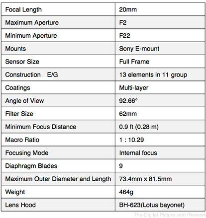 Tokina FIRIN 20mm F2 FE AF Lens Specifications