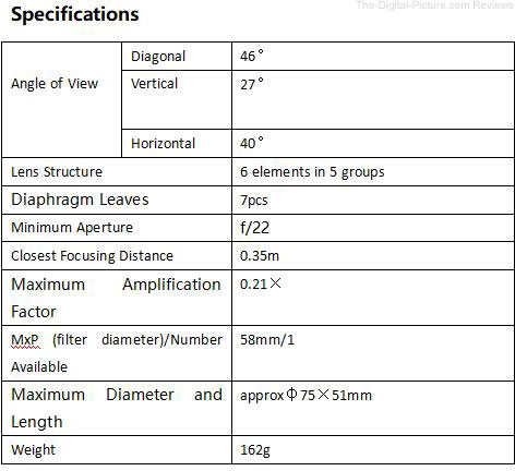 YONGNUO YN50mm F1.8 II Lens Specifications