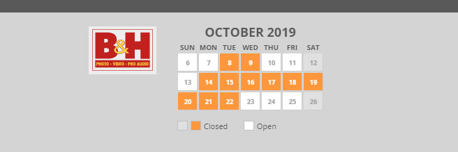 B&H October Schedule