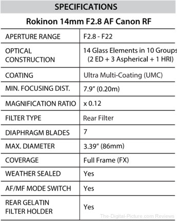 Rokinon AF 14mm f/2.8 Lens for Canon RF Specs