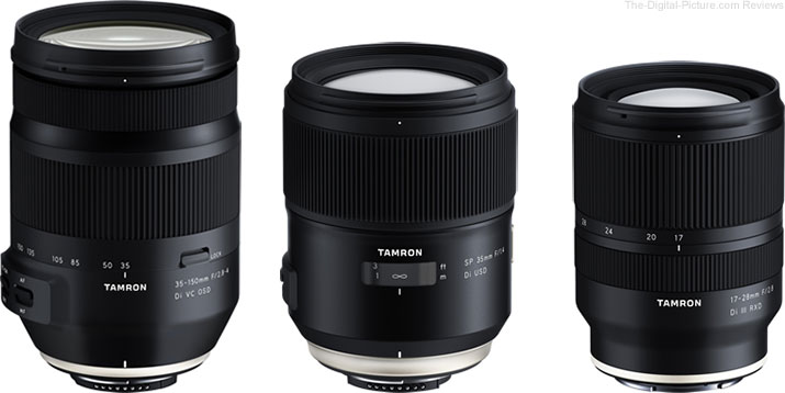 Tamron 35-150mm F/2.8-4 Di VC OSD, SP 35mm F/1.4 Di USD & 17-28mm F/2.8 Di III RXD Lenses