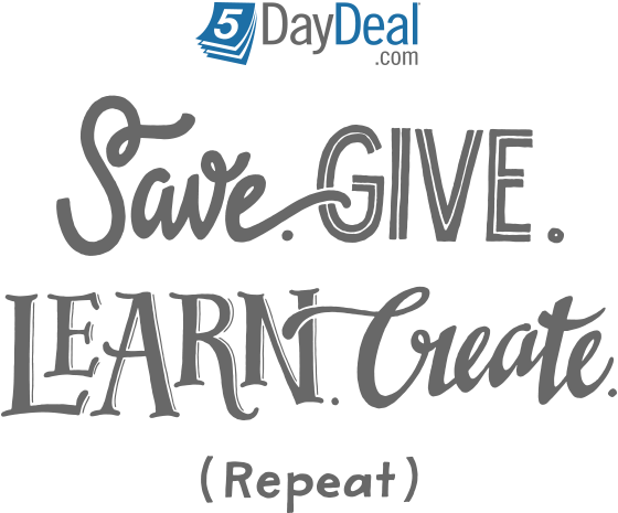 5DayDeal Save Give Learn Create Repeat Logo
