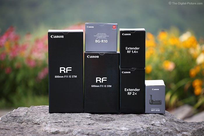 Canon RF 600mm Lens, 800mm Lens, Extender, and Grip Boxes