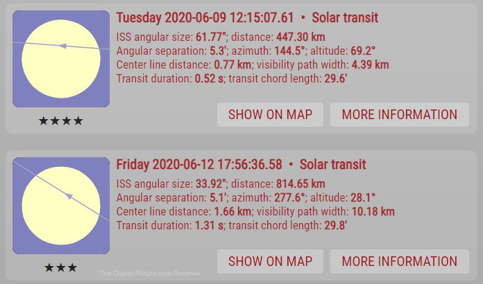 International Space Station Solar Transit Schedule
