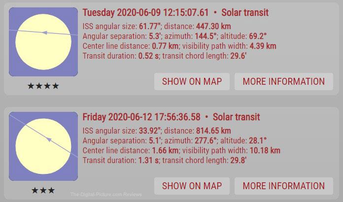 International Space Station Solar Transit Schedule