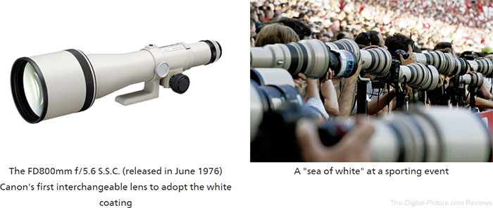 The FD800mm f/5.6 S.S.C. (released in June 1976) Canon's first interchangeable lens to adopt the white coating, A sea of white at a sporting event