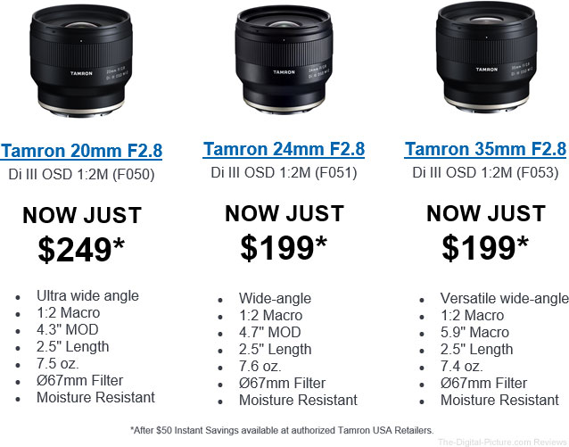 New Low Price on Tamron Primes For Sony Mirrorless