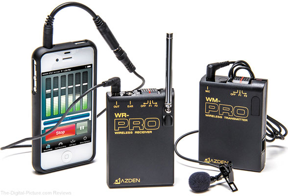 Azden WLX-PRO+i VHF Camera-Mount Wireless Omni Lavalier Microphone System for Smartphones