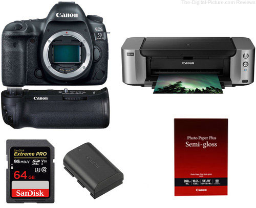 Canon EOS 5D Mark IV + PIXMA PRO-100 & Free Battery Grip
