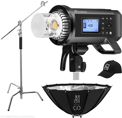 Flashpoint XPLOR 600PRO R2 HSS Battery-Powered Monolight Kit With Glow ParaPop and C-Stand