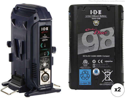 IDX System Technology 96Wh High-Load V-Mount Batteries with 2-Bay Battery Charger