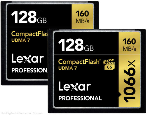 Lexar 128GB Professional 1066x CompactFlash Memory Card (2 pack)