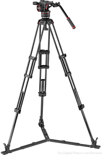 Manfrotto Nitrotech N8 Head & Carbon Fiber Twin Leg Video Tripod Kit (100/75mm, Ground Spreader)