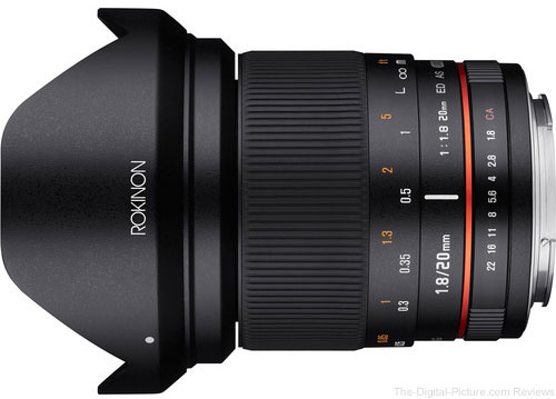 Save on the Rokinon 20mm f/1.8 ED AS UMC Lens at B&H