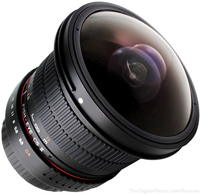 Used Samyang 8mm f/3.5 HD Fisheye Lens with Removable Hood for Canon - $139.95 (Compare at $194.95 New)