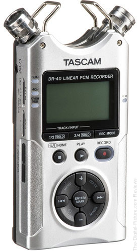 Tascam DR-40 4-Channel / 4-Track Portable Audio Recorder with Adjustable Stereo Microphone (Silver)