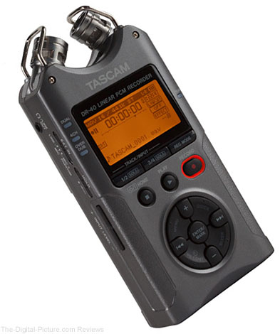 Tascam DR-40 4-Track Handheld Digital Audio Recorder (Luminous Gray)
