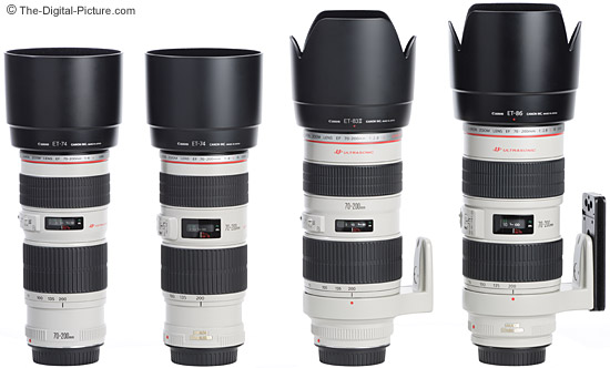 All 4 current Canon 70-200mm L Lenses with their included lens hoods attached.