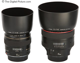 With lens hoods - Canon EF 85mm f/1.8 USM Lens to the left, 85 f/1.2L II to the right