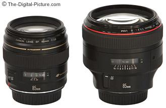 Canon EF 85mm f/1.8 USM Lens to the left, 85 f/1.2L II to the right