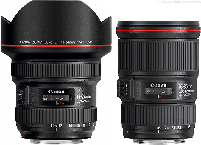 Canon EF 11-24mm f/4L USM Lens Beside Canon EF 16-35mm f/4L IS USM Lens