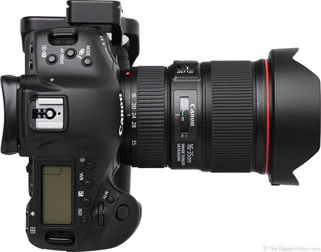 Canon EF 16-35mm f/4L IS USM Lens Top View with Hood