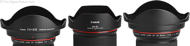 Canon EW-83E, EW-82 and EW-88 Lens Hood Comparison