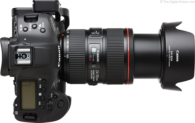 Canon EF 24-105mm f/4L IS II USM Lens Extended View with Hood