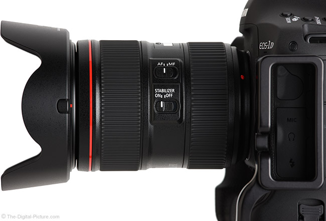 Canon EF 24-105mm f/4L IS II USM Lens Side View with Hood