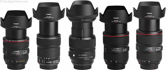 Canon EF 24-105mm f/4L IS II USM Lens Compared to Similar Lenses with Hoods