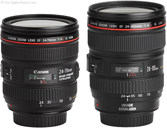 Canon EF 24-70mm and 24-105mm f/4L IS Lenses Side-by-Side