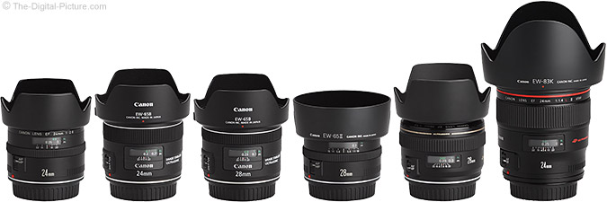 Canon EF 28mm f/2.8 IS USM Lens Compared to Similar Lenses with Hoods
