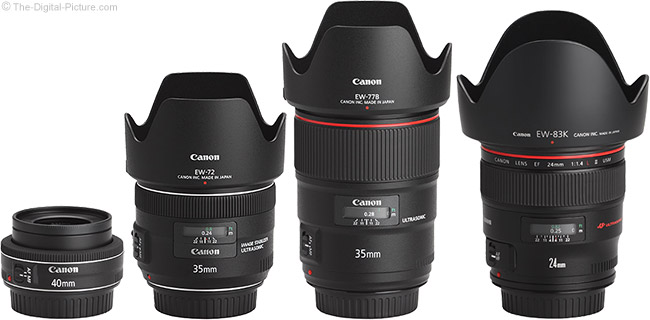 Canon EF 35mm f/1.4L II USM Lens Compared to Similar Lenses with Hoods