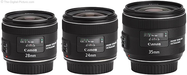35 f/2 IS with 24mm and 28mm f/2.8 IS Lenses
