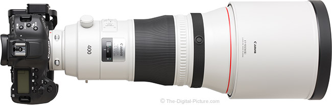 Canon EF 400mm f/2.8L IS III USM Lens Top View with Hood