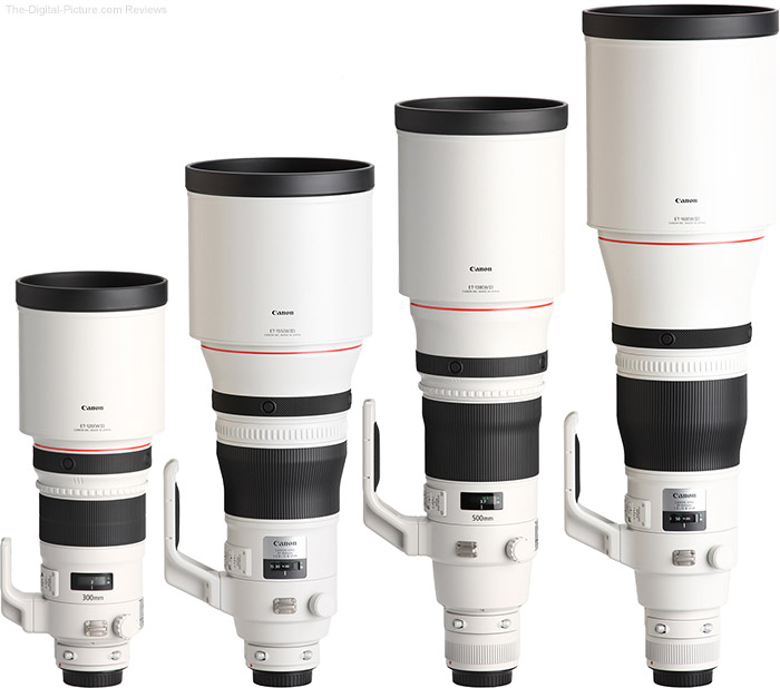 600mm f/4.0L IS III USM Lens Compared to Similar Lenses with Hoods