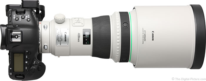 Canon EF 400mm f/4 DO IS II USM Lens Top View with Hood