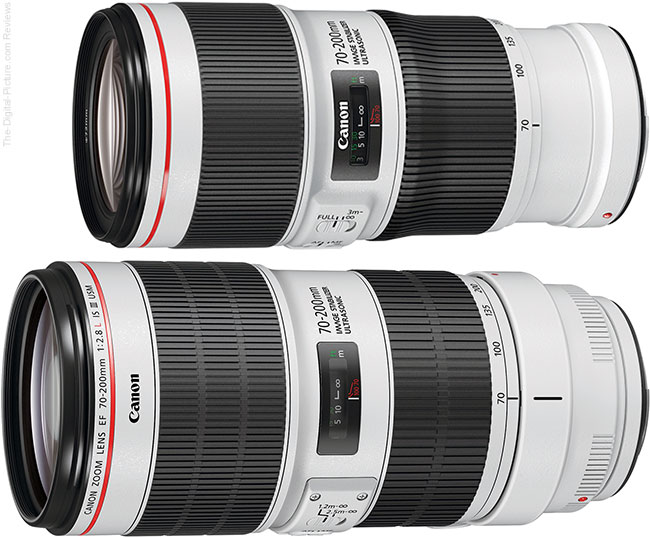 Canon EF 70-200mm f/2.8L IS III USM Lens Compared to Canon EF 70-200mm f/4L IS II USM Lens Angle View