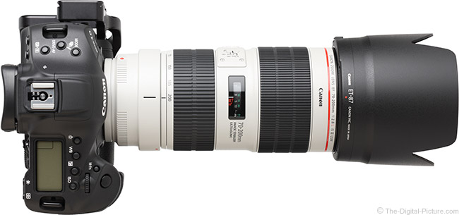 Canon EF 70-200mm f/2.8L IS III USM Lens Top View with Hood