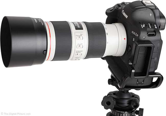 Canon EF 70-200mm f/4L IS II USM Lens Angle View with Hood