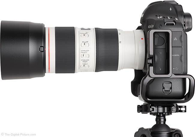 Canon EF 70-200mm f/4L IS II USM Lens Side View with Hood