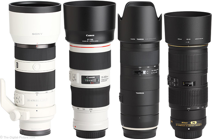 Canon EF 70-200mm f/4L IS II USM Lens Compared to Similar Lenses with Hoods