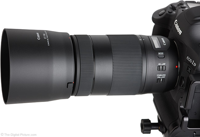 Canon EF 70-300mm f/4-5.6 IS II USM Lens Angle View with Hood