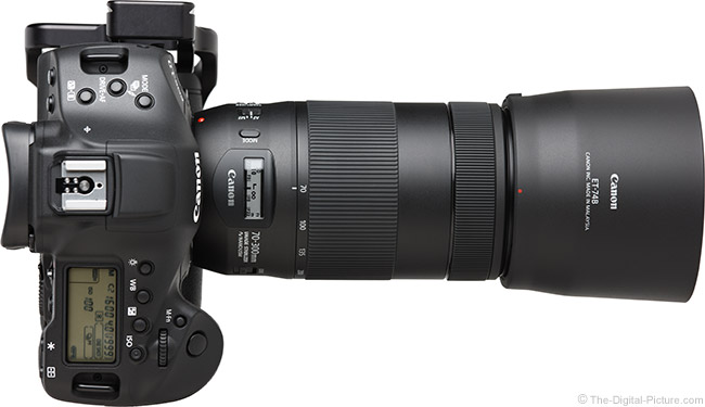 Canon EF 70-300mm f/4-5.6 IS II USM Lens Top View with Hood
