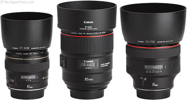 Canon 85mm Lens Family with Hoods