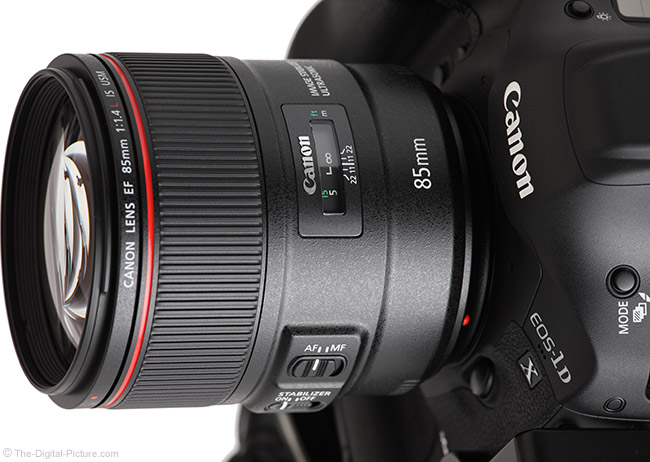 Canon EF 85mm f/1.4L IS USM Lens Top Angle View