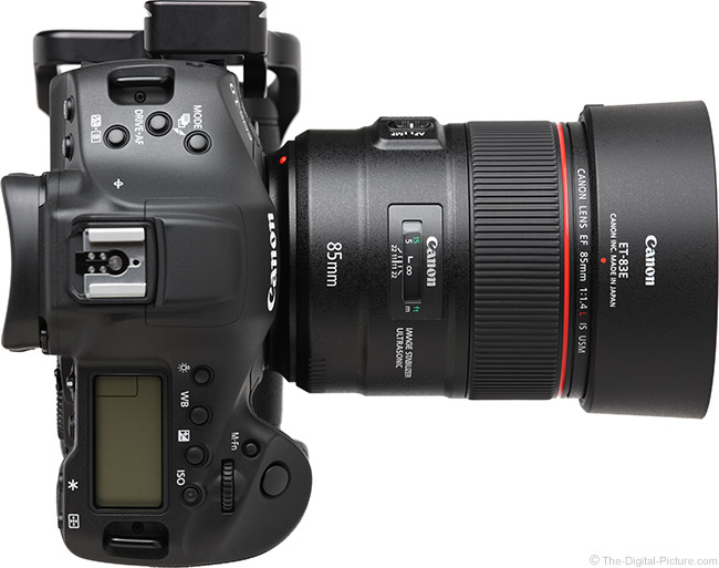 Canon EF 85mm f/1.4L IS USM Lens Top View with Hood