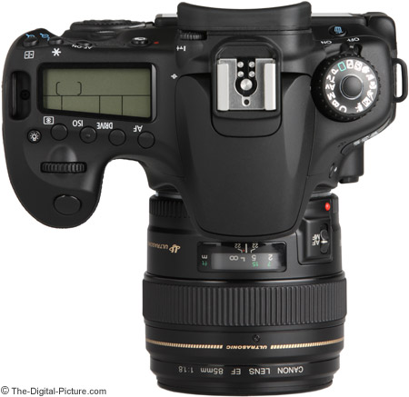 Canon EF 85mm f/1.8 USM Lens on EOS 60D - Top View